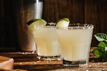 Margarita Cocktail In Drinking Glasses With Salt Rim