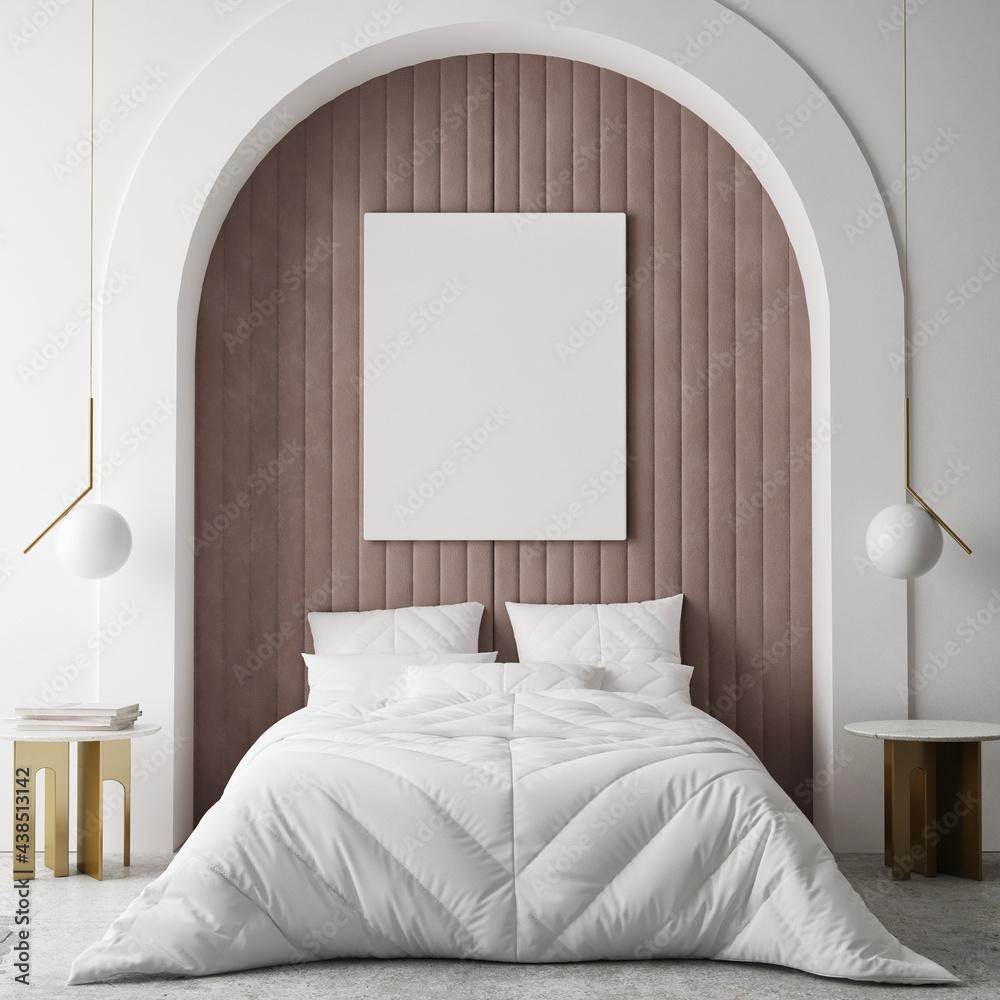 Leinwandbild Motiv - mtlapcevic : mock up poster frame in modern interior background, bedroom, Minimalistic style, 3D render, 3D illustration
