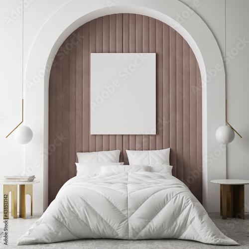 mock up poster frame in modern interior background, bedroom, Minimalistic style, 3D render, 3D illustration