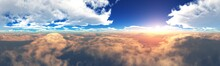 Beautiful Cloudy Landscape, Sunset Among The Clouds, Flying Through The Clouds, 3D Rendering