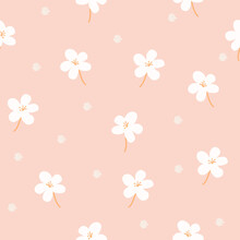 Delicate Floral Background. Small White Flowers And Dots On A Pink Background. Wallpaper, Furniture Fabric, Textile