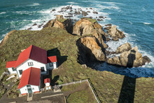 Keepers' View - The 1896 Fog Signaling Building Still Stands, Housing The Pt. Arena Lighthouse Store. Point Arena, California, USA