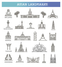 Simple Linear Vector Icon Set Representing Global Tourist Asian Landmarks And Travel Destinations For Vacations