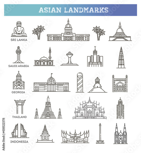Fotografie, Obraz Simple linear Vector icon set representing global tourist asian landmarks and tr