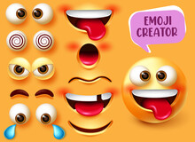 Emoji Creator Vector Set Design. Smiley 3d Character Kit With Editable Funny, Angry And Sad Face Elements Like Eyes And Mouth For Emojis Facial Expression Creation Design. Vector Illustration