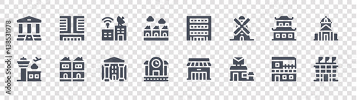 Fotografie, Obraz urban building glyph icons on transparent background