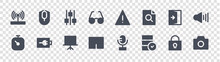 User Interface Glyph Icons On Transparent Background. Quality Vector Set Such As Photo Camera, Data, Touchpad, Stopwatch, Exit Door, Settings, Warning, Computer Mouse