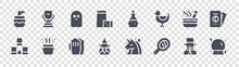 Magic Glyph Icons On Transparent Background. Quality Vector Set Such As Magic Ball, Hand Mirror, Wizard, Dice Cup, Mortar, Ghost, Potion, Cup