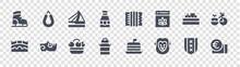 Holland Glyph Icons On Transparent Background. Quality Vector Set Such As Euro, Lion, Milk Can, Bridge, Boat, Bridge, Accordion, Rookworst