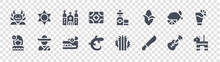 Mexico Glyph Icons On Transparent Background. Quality Vector Set Such As Pi?ata, Machete, Gecko, Mexican Woman, Lime, Church, Tequila, Sun