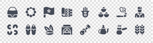 Morocco Glyph Icons On Transparent Background. Quality Vector Set Such As Wheat, Teapot, Chefchaouen, Cashew, Smoking, Morocco, Hamsa, Beads