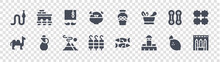 Morocco Glyph Icons On Transparent Background. Quality Vector Set Such As Hammam, Hassan Mosque, Kefta, Camel, Qarqaba, Tarbouche, Pottery, Volubilis
