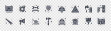 Labour Day Glyph Icons On Transparent Background. Quality Vector Set Such As Print, Repair, Hammer, Saw, Axe, Labor Day, Hat, Maintenance