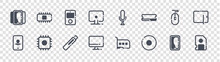 Device Glyph Icons On Transparent Background. Quality Vector Set Such As Storage, Compact Disc, Monitor, Location, Computer Mouse, Media Player, Microphone, Microprocessor