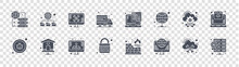 Web Hosting Glyph Icons On Transparent Background. Quality Vector Set Such As Database, Internet, Padlock, Bug, Cloud Computing, Repair, Web Hosting, Database