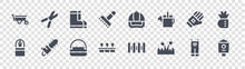 Gardening Glyph Icons On Transparent Background. Quality Vector Set Such As Bird House, Grass, Flower Pot, Water Well, Glove, Boots, Cap, Pruning Shears