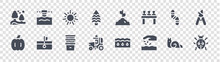Gardening Glyph Icons On Transparent Background. Quality Vector Set Such As Ladybug, Seeding, Tractor, Pumpkin, Worm, Sunny, Sprout, Irrigation System