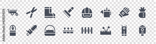 Canvas gardening glyph icons on transparent background