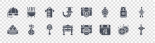 Chinese New Year Glyph Icons On Transparent Background. Quality Vector Set Such As Fish, Calendar, Gate, Dumpling, Yen, Outfit, Dog, Incense