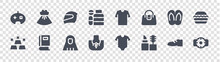 Online Shop Categories Glyph Icons On Transparent Background. Quality Vector Set Such As Hand Watch, Cosmetics, Jewelry, Gold, Slippers, Racing Helmet, Shirt, Dress