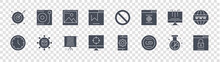 Seo And Media Glyph Icons On Transparent Background. Quality Vector Set Such As Lock, Linking, Target, Clock, Monitor, Picture, Close, Vinyl Disc