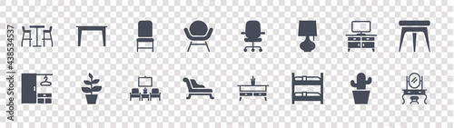 Tela furniture glyph icons on transparent background