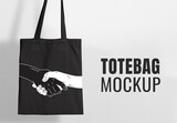 Black Tote Shopping Bag Mockup