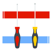 Construction, Design, Element, Equipment, Fix, Fischer, Flat Vector, Garage, Icon, Illustration, Industry, Isolated, Maintenance, Object, Philip Screw, Philips Screwdriver, Pictogram, Repair, Screw