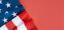 American Flag In The Corner On Red Background. Fourth July Concept, Long Banner