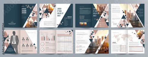 Canvastavla Corporate business presentation guide brochure template, Annual report, 16 page minimalist flat geometric business brochure design template, A4 size