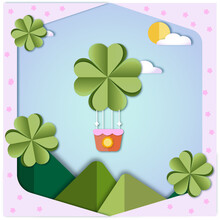 Four-leaf Clover - Balloon (paper Cut Style)