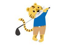 ゴルフのスイングをするトラ