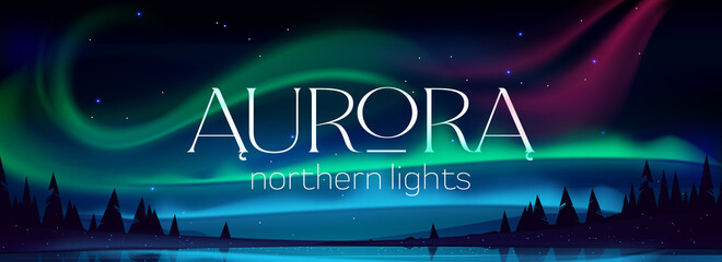Aurora borealis poster, northern lights in arctic night sky with stars. Vector banner with cartoon winter landscape with lake, silhouettes of trees and green, blue and pink polar lights