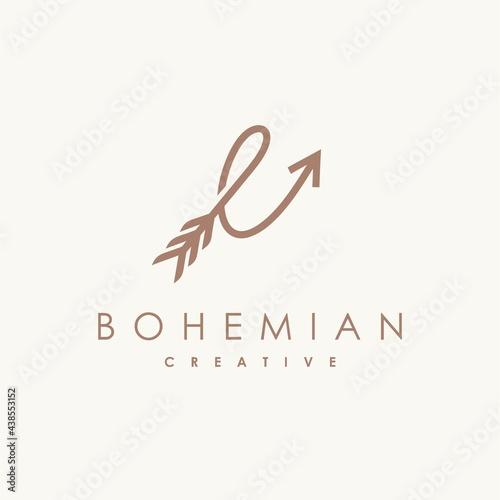 Fényképezés Feather and archer logo with letter e concept, bohemian logo design