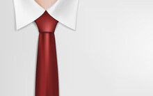 Businessman Or Clerk In A White Shirt And Red Tie