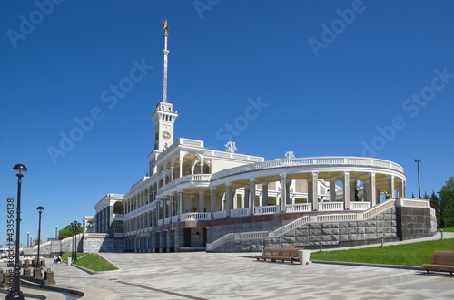Moscow, Russia - June 3, 2021: The building of the Northern River Station and th Fototapet