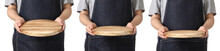 Chef Holding Wooden Cuttingboard On White Background
