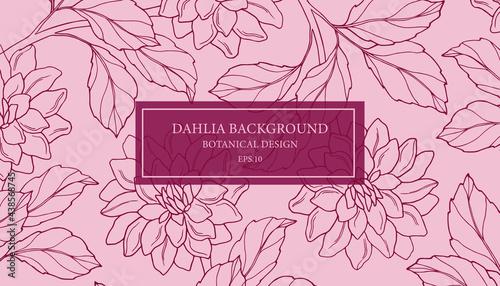 Foto Hand drawn vintage dahlia background. Botanical design