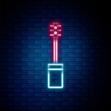 Glowing Neon Line Mascara Brush Icon Isolated On Brick Wall Background. Colorful Outline Concept. Vector