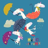 Funny Unicorns flying with Umbrellas in the Sky