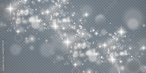 Light sparkling dust with white sparkling stars on a transparent background Fototapeta