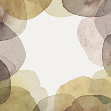 Abstract Frame From Watercolor Stains. Monochrome Circles Along The Borders On A Gray Background. Craft Paper Texture