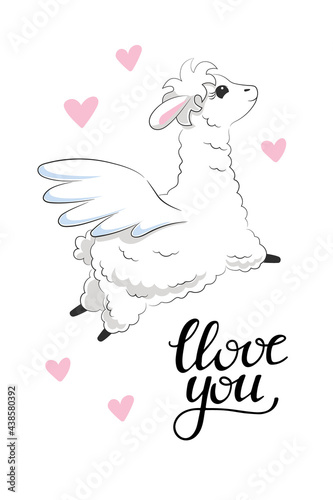 Fototapeta premium Cute white fluffy llama flying with pegasus wings surrounded by pink hearts and phrase love you. Hand drawn animal for greeting card wall art for kids room nursery. Stock vector illustration isolated.