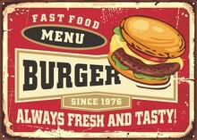 Fast Food Menu Board With Tasty Burger Illustration On Red Background. Vintage Food Vector Graphic. Fast Food Burger Sign Template.