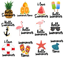 Collorful Hello Summer Label Colection Vector