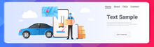 Man Courier In Mask Holding Cardboard Box Express Delivery Service Concept Online Shopping App Horizontal