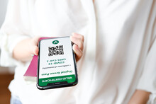 Unrecognized Woman Holding Smartphone With Digital Green Pass And QR Code On The Screen. Health Passport Or Certificate Of Immunity. Traveling Without Restrictions. Vaccinated Person