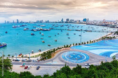 Obraz na plátně panoramic view of Pattaya city viewpoint from Pratumnak Hill, Chonburi, Thailand