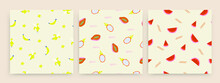 Banana, Papaya, Dragon Fruit And Watermelon. Fresh Tasty Fruits. Hand Drawn Colored Vector Illustrations. Set Of Three Seamless Patterns. Background, Wallpaper. For Textile Prints Or Wrapping Paper