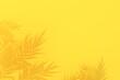 Leinwandbild Motiv Summer tropical palm leaves shadow on yellow background, 3D rendering.